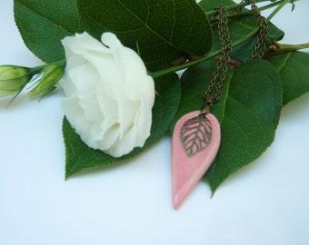 Handmade soft pink ceramic pendant
