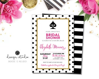 Pink and Polka Dot Bridal Shower Invite, Pink & Stripes Wedding Shower Invite, Spade Bridal Shower Invitation, Spade Inspired