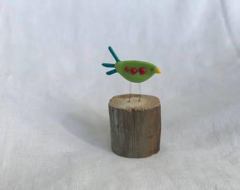 Small fused glass bird