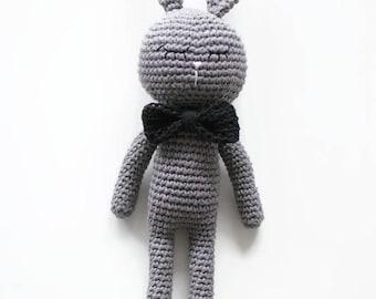 Crochet Bunny Doll, Amigurumi Bow Tie Rabbit Doll, Knit Toy, Stuffed Plush Doll, Soft Sleepy Bunny, Baby Shower Gift, Photoshoot Prop