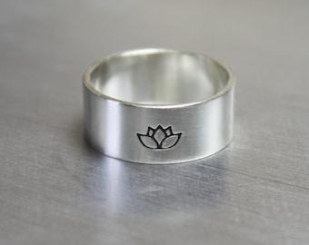 Sterling Silver Lotus Flower Ring, Yoga Jewelry, Spiritual Ring