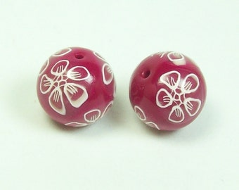 NOW ON SALE Handmade Polymer Clay Beads - Fuchsia with White Outlined Flowers
