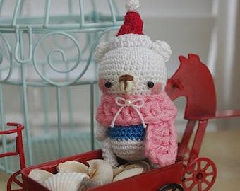 Amigurumi Mini Bear with Pink Scarf & Santa Hat