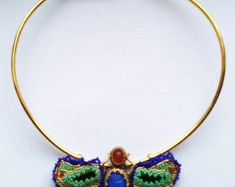 Egyptian Scarab . Beaded Beadwoven . Green Elytra Wings . Bugs Scarab Insect . Gold Plated Choker - MAGICAL Scarab by enchantedbeads on Etsy