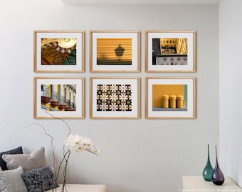 Yellow 6H Print Collection.  Detail photography, urban architecture, decor, wall art, artwork, large format photo.