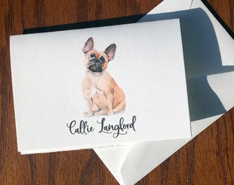 French Bulldog Personalized Stationery, great gift for dog lovers, Frenchie stationery set 100% Cotton Savoy, custom gifts for dog lovers