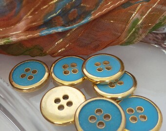 Blue and Gold Round Buttons