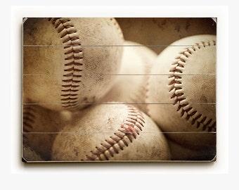 Wood Sign: Well Worn Baseballs Wood Plank, Art for Boy's Room, Art for Baseball Player, Baseball Picture, Baseball Decor, Baseball Decor.