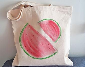Cotton bag watermelon tote bag shopping bag, bag for grocery tote bag lemon fruit, cotton bag handmade, citrus tote bag