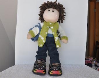 Jamie is a 16 inch handcrafted Waldorf-Tilda-Rag style cloth doll