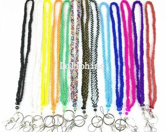 Pittoresco seme perline collana cordino portachiavi con il cristallo per ID, chiave, telefono cellulare e del distintivo