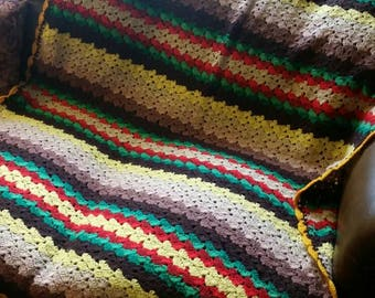 Vintage multicolored crotchet afghan throw blanket.
