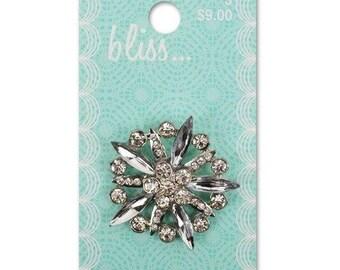 Large Bliss Crystal Burst Shank Button