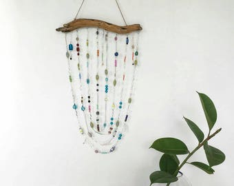 Crystal Suncatcher Mobile on Driftwood, Beaded wind chime, Bohemian decor, window decor