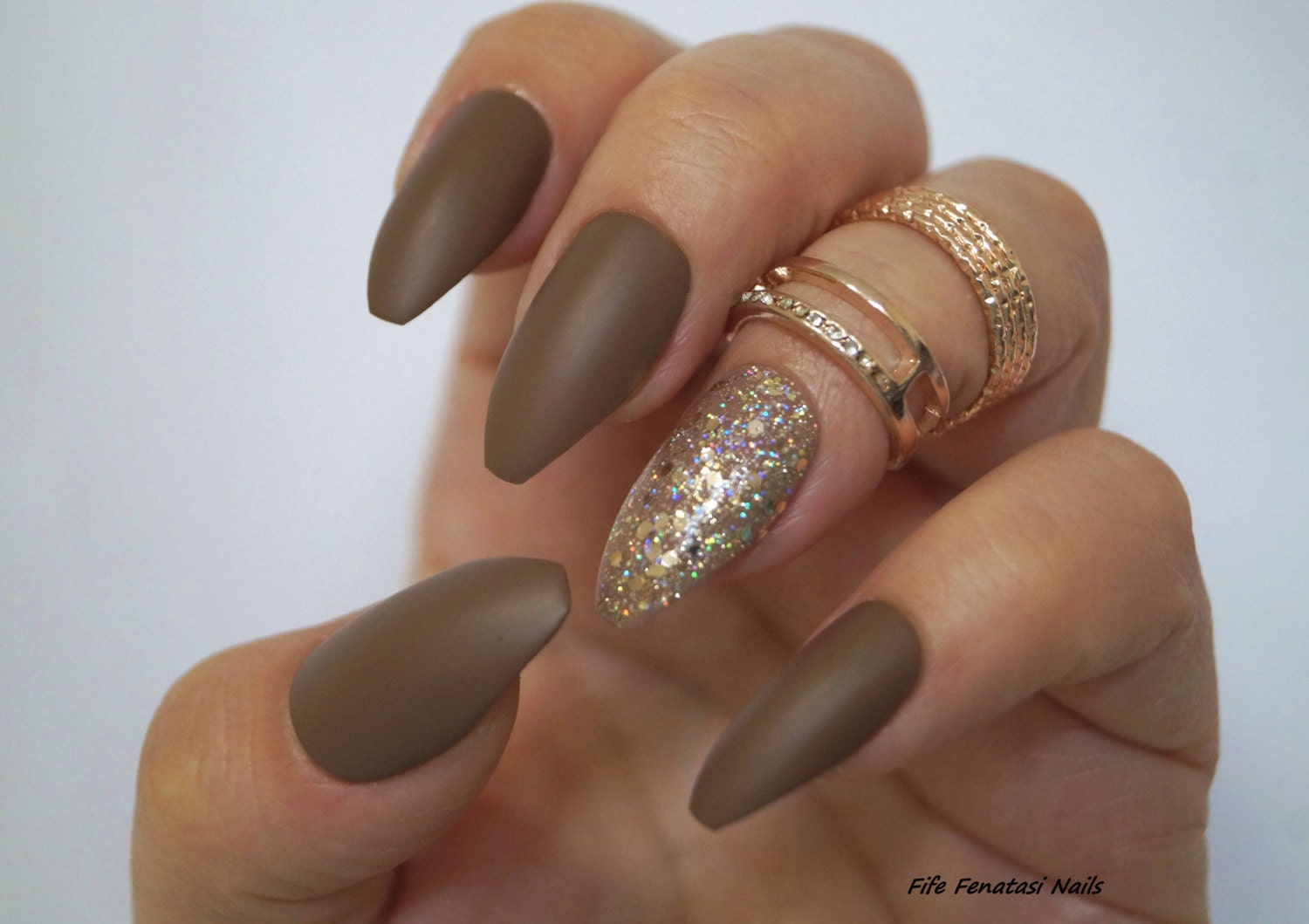 Dark Nude matte coffin Nails, Stiletto nails, Fake nails, Kylie ...