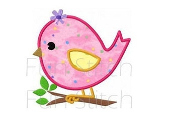 cute flower bird applique machine embroidery design