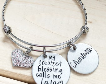 My greatest blessings - Hand stamped bracelet - Gift for Grandma - Grandma Nana Yia Yia jewelry - Personalized bracelet - Gift for Mom