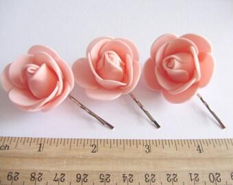 Peach Bobby Pin Set, Flower Hairpins, Coral Flower Bobby Pins Wedding Hair Accessory, Bridesmaid Gift Coral Hair Flowers Hair Pins for girl