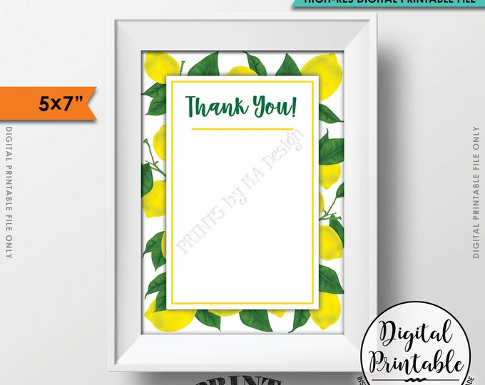 """Lemon Thank You Card, Lemon Themed Celebration, Tuscan Garden Party, Tropical Summer Lemons, Italy Party, 5x7"""" Printable Instant Download"""