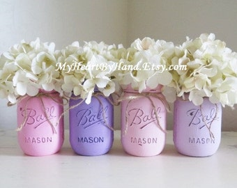 Baby Shower Decorations, Baby Shower Centerpieces, Communion and Birthday Party Decor, Painted Mason Jars, Rustic Home Decor, Pink / Purple