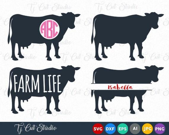 Download Cow SVG File Cow Cut File Cow Monogram Svg Cow Split Svg