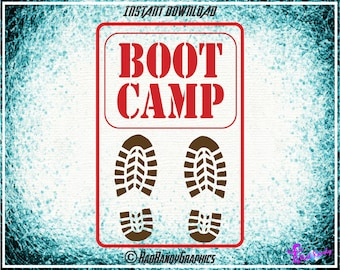 Boot Camp,  Sign Cut Files, EPS, SVG, PNG, Vector