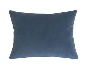 Ocean Blue Velvet Suede Decorative Throw Pillow Cover / Pillow Case / Cushion Cover / 12x16""