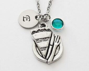 Pie Necklace, Slice of Pie, Baker, Food Jewelry, Swarovski Birthstone, Birthday, Personalized, Monogram, Hand Stamped, Silver Letter Initial