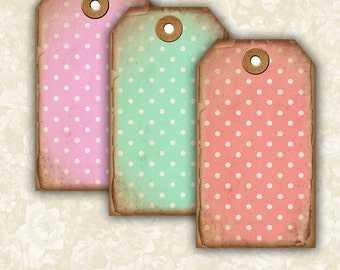 Vintage Polka Dots tags -  Digital Collage Sheet Printable Download Images Jewelry Holders Gift Tags Paper Scrapbook