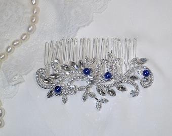 Wedding something blue Bridal comb Wedding hair comb Downton Abbey silver rhinestone hair piece with pearls