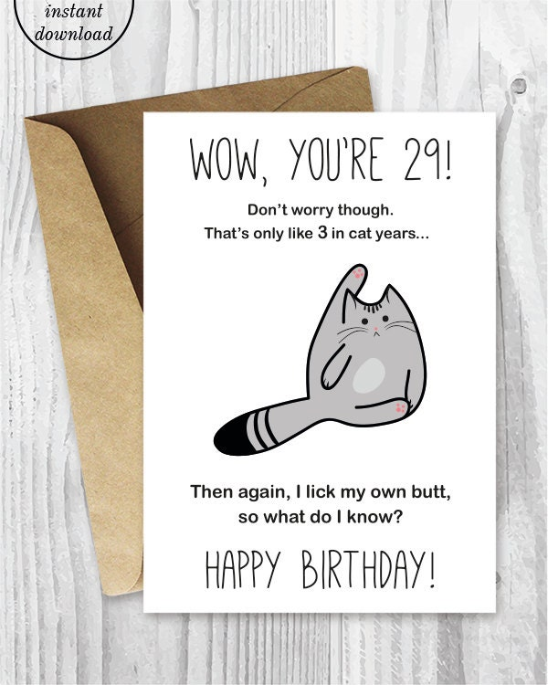 29th Birthday Card Printable Birthday Card Funny Cat