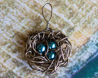 Antique Bronze Nest Charm