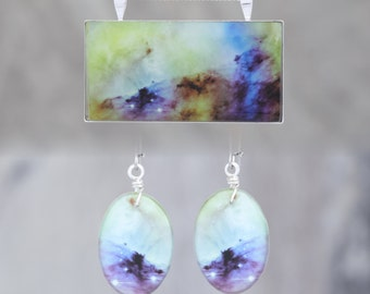 Matching Glow in the dark Space/Science Pendant and Earring Set!  Pick your favourite pendant and get matching earrings for a discount!!