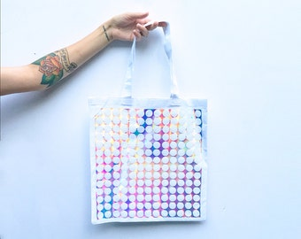 Holographic Tote Bag | Iridescent Hologram Silver Rainbow Printed Tote | White Iridescent Shimmer Shoulder Shopping Bag
