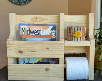 Rustic Magazine Rack Toilet Paper Holder made from Reclaimed and Repurposed Pallet Wood