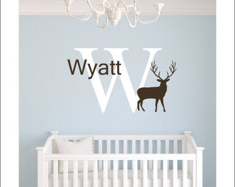 Personalized Buck Wall Decal Vinyl Decal Name Initial Buck Decal Hunting Wall Decal Boys Hunting Decal Vinyl Wall Decal Nursery Wall Decor