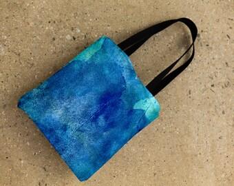 blue watercolor bag, watercolor tote bag, art shopping bag, weather resistant tote.