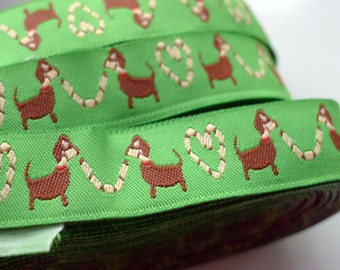 Animal - Dogs Woven Jacquard Ribbon - 1.5cm  x 1 meters (JR-048)