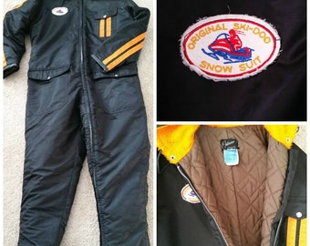 ON SALE Vintage 1960s 1970s Ski Doo Snowmobile Hooded One Piece Suit Mens Large