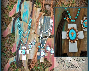 Leap of Faith Necklace - Hand-made clay cross on leather and turquoise, copper bead chain - Proudly Made In Alabama