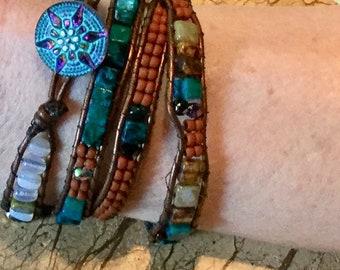 Quadruple Moonstone and Apatited Beaded Leather Wrap Bracelet