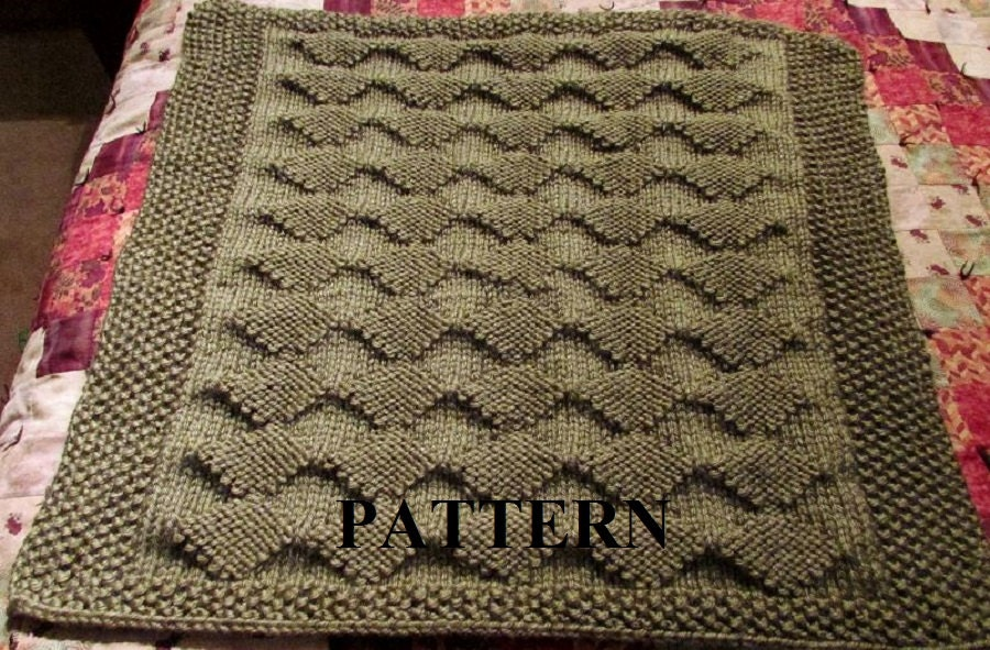 Knit Baby Blanket Pattern, PDF Knitting Pattern, Diamond Knitting ...