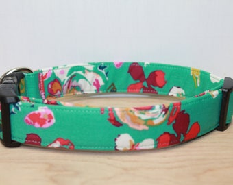 """Turquoise & Red  Floral Dog Collar - Floral Dog  Collar - Vintage Inspired Dog Collar - Girl Dog  Collar - Summer Dog Collar """"The Lilliam"""""""