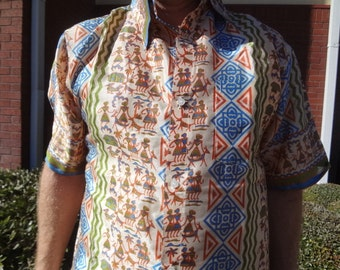 Men's Handmade Woven Sari Silk Button Down Pocket Shirt - Multiple Sizes - Native Village - Hopi G741