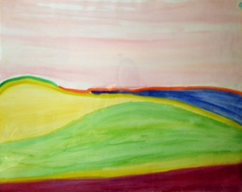 Rosa Sunset- Watercolor Painting, Landscape, abstract, wall art, original, Ann Forget, 99.00