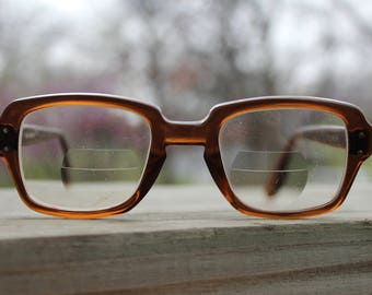 Vintage 1950's - 1960's USS Military Issue Glasses With Brown Frames