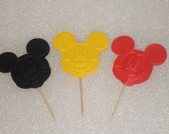 Mickey and Minnie Mouse Cupcake Topper Picks for Children Birthdays, Baby Showers, Parties
