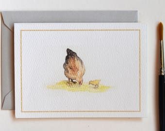Watercolor Chicken Card for Mother; Mother and Baby Card; Mother's Day Card; Welcome New Baby; Hen and Chick; Blank Card for Mother
