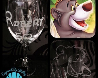 Personalised Jungle Book, Baloo Wine Glass With Free Name Engraved! Totally Unique Gift For Any Disney Fan!