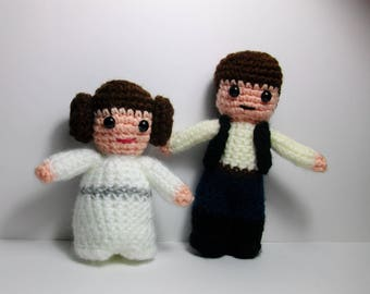 Princess Leia or Han Solo  inspired crochet character for Star Wars fans!